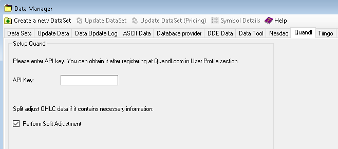Enter Quandl auth token in Data Manager