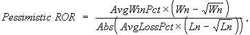 Wn = Number of Wins, Ln = Number of Losers, AvgWinPct = Average Win %, AvgLossPct = Average Loss%